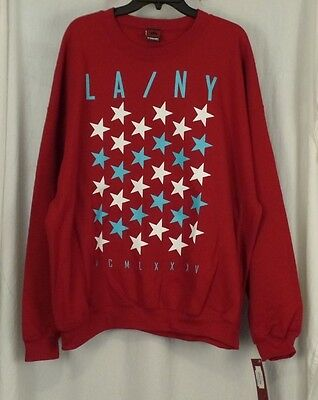 Garnet Mens Sweatshirt - Small TONY HAWK Sweatshirt Mens LA NY STAR Red Garnet Pullover Fleece NEW
