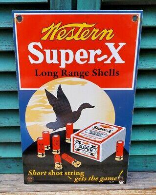 VINTAGE 1947 WESTERN SUPER X SHELLS PORCELAIN ENAMEL SIGN WINCHESTER REMINGTON