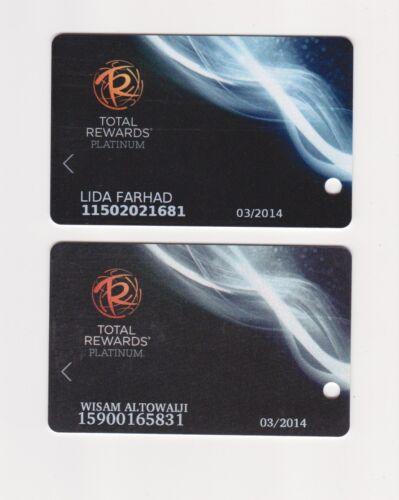 2- Players Slot Club Rewards Card TR Total Rewards 2012 & 2013 Platinum cards