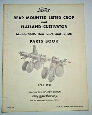 Ford Rear Mounted Listed Crop Flatland Cultivator Parts Catalog Book Original