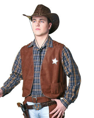 braune Cowboyweste Größe 48/50 Cowboy Western Karneval Sheriff Kostüm