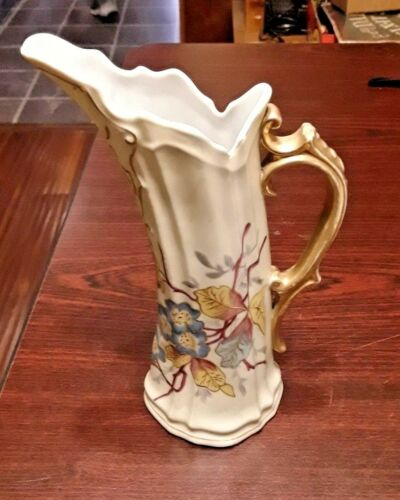 Rare Unique Victoria Carlsbad Lg. Tall Floral Pitcher / Vase