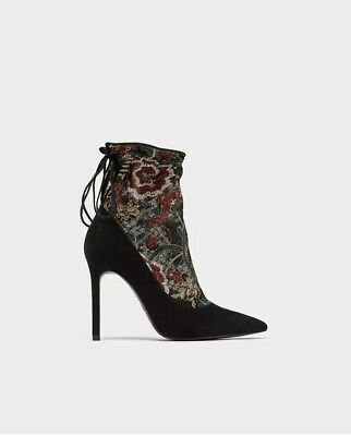 ZARA EMBROIDERED STOCKING-STYLE HIGH HEEL COURT Black Flower SHOES Size US 6.5