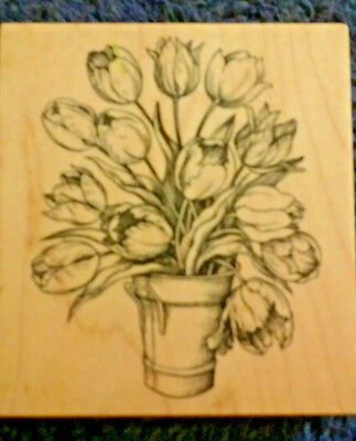 BUCKET OF DUTCH TULIPS PSX K-1695 MADE IN USA SPRING EASTER rubber stamp](Easter Bucket)