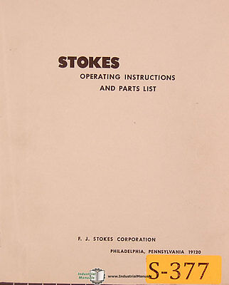 Stokes R-4 Tablet Machine Installation Operations And Parts Manual 1942