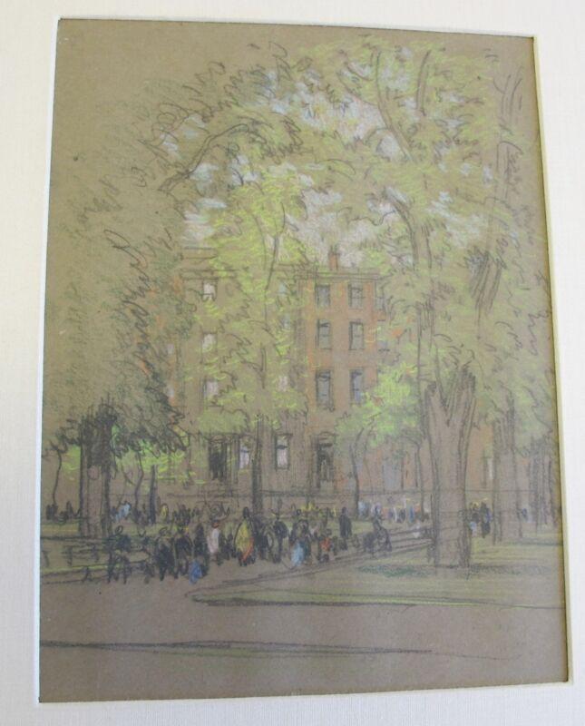 Original JOSEPH PENNELL Pastel (American, 1857-1926) Washington Square, New York