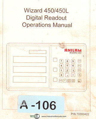 Anilam Wizard 450450l Digital Readout 148 Page Operation Program Manual 1999