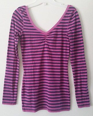 One Step Up Pink & Blue Long Sleeve Stripe Tight V Neck Blouse Size Small (Pink And Blue Striped Tights)
