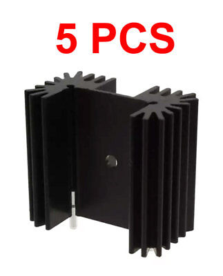 5-pcs Ra-t2x-38e Heat Sink For To-218 To-220 To-247 Black Anodized