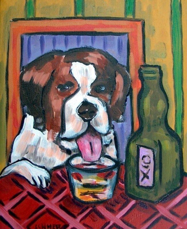 Saint Bernard dog  8x10 art PRINT JSCHMETZ whiskey shot