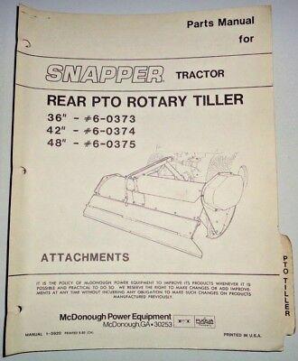 Snapper Tractor 36 42 48 Rear Pto Rotary Tiller Parts Catalog Manual Book
