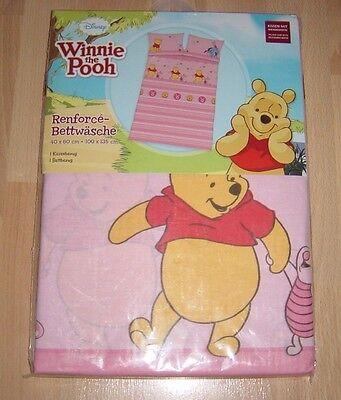 Renforcé Bettwäsche Garnitur für Kinder,Winnie the Pooh,100x135cm,Rosa,NEU