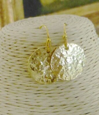 Hand Hammered Gold Round Disc Circle Fashion Dangle Earrings