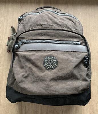 Kipling Dark Khaki/Brown Seoul Backpack with Back Support & Reflective Strips