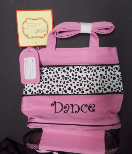 NWT Dalmatian zipperbottom shoulder tote girls dance bag w/ name tag embroidered
