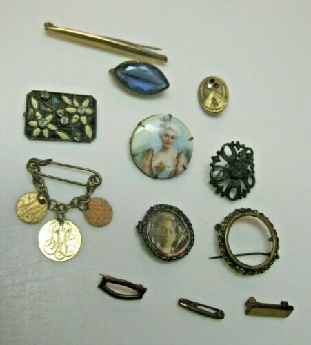 ANTIQUE LOT OF VICTORIAN PINS NICE VARIETY