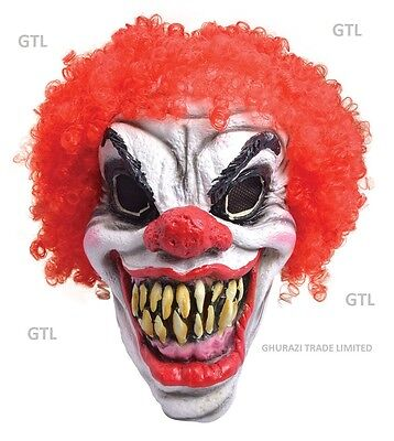 Foam Clown Mask Scary with Red Hair Halloween Horror costume Fancy Dress Masks  - Costumes With Red Hair