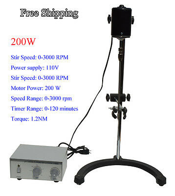 Free Shippng110v Lab Electric Overhead Stirrer Mixer Variable Speed 200w 1.2n.m