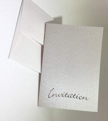 50 C6 WHITE SATIN EFFECT BLANK INVITATIONS + INSERT & ENVELOPES BARGAIN!!