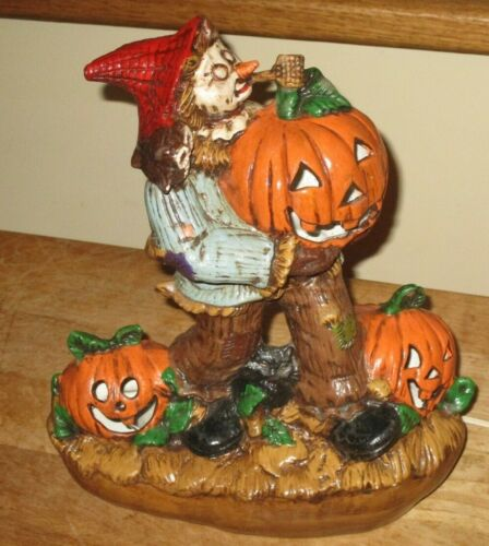 Vintage Blackbird Mold Ceramic Halloween Scarecrow Pumpkins Light Up Decoration