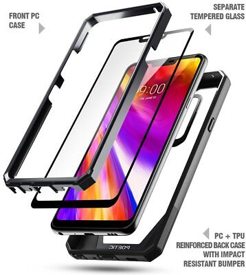 Case For LG G7 ThinQ Poetic?Guardian?Full-Body Rugged Clear Bumper Cover Black