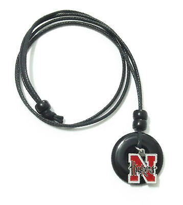 NEBRASKA HUSKERS PENDANT ONYX CORD NECKLACE 24334 college sports jewelry ()