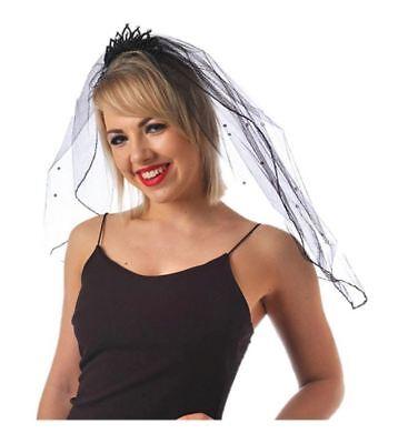 Schwarzer Schleier Tiara Halloween Braut Gothik Junggesellinnenabschied ()