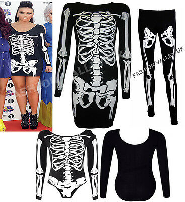 UNIC TOP LEGGINGS SCARY FANCY DRESS WOMENS COSTUME SIZE 8-26 (Top Scary Halloween-kostüme)