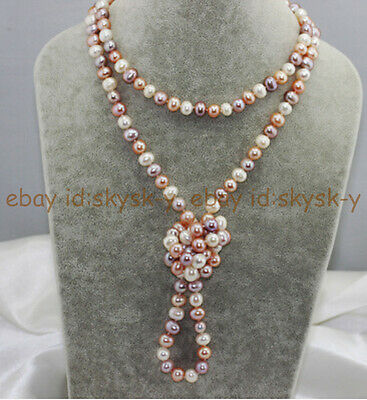 Long 8-9mm Multi Color White Peach Pink Lavender Freshwater Pearl Necklace 68