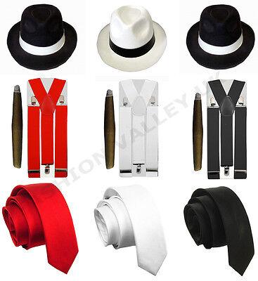 MENS GANGSTER MAFIA PIMP ADULT FANCY DRESS TIE HAT CIGAR BRACES 1920'S - Pimps Outfit
