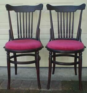 PAIR OF ORIGINAL VINTAGE BENTWOOD CHAIRS WITH  PADDED SEATS Gnangara Wanneroo Area Preview