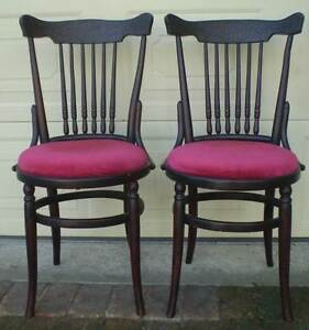 PAIR OF ORIGINAL VINTAGE BENTWOOD CHAIRS WITH RED PADDED SEATS Gnangara Wanneroo Area Preview