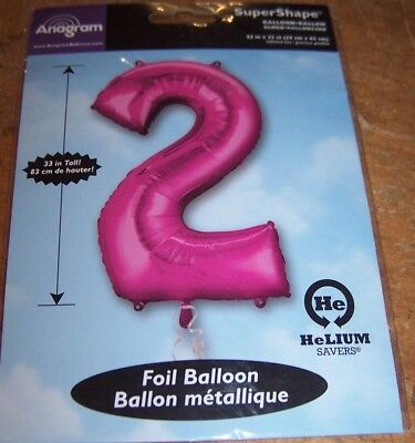 SuperShape Foil Number 2 PINK Two Jumbo Party Balloon NEW in PACKAGE 33 inches - Jumbo Party