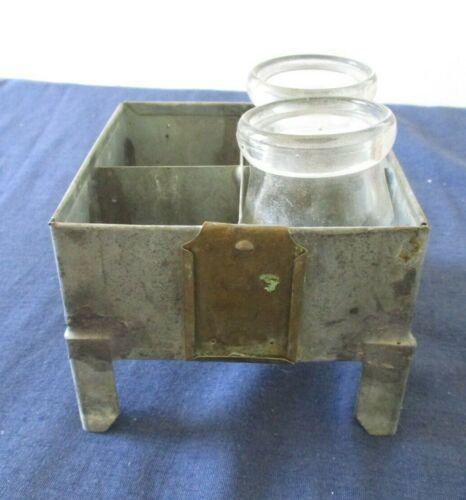 Antique Veterinary Sample Bottles & Metal Holder Stand Liberty Glass Co Oklahoma