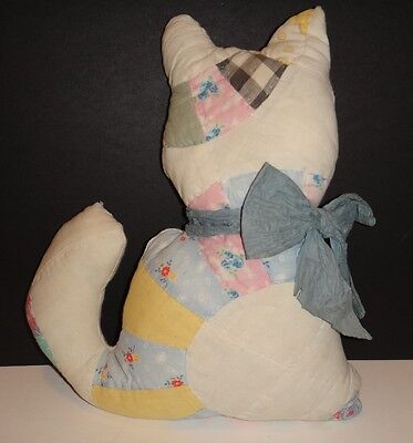 Vintage antique quilt stuffed cat pillow