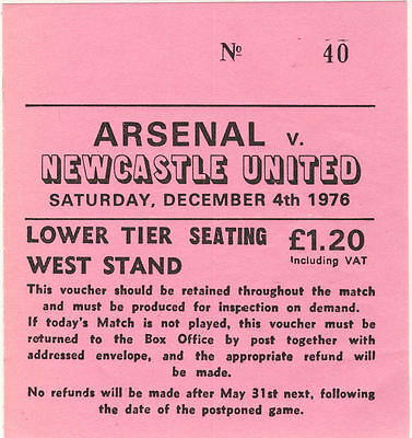 Ticket: Arsenal v Newcastle United 4/12/1976