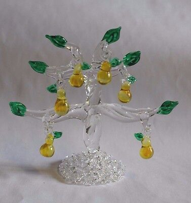 Pear Tree  Handblown Glass 6 Removeable Fruit