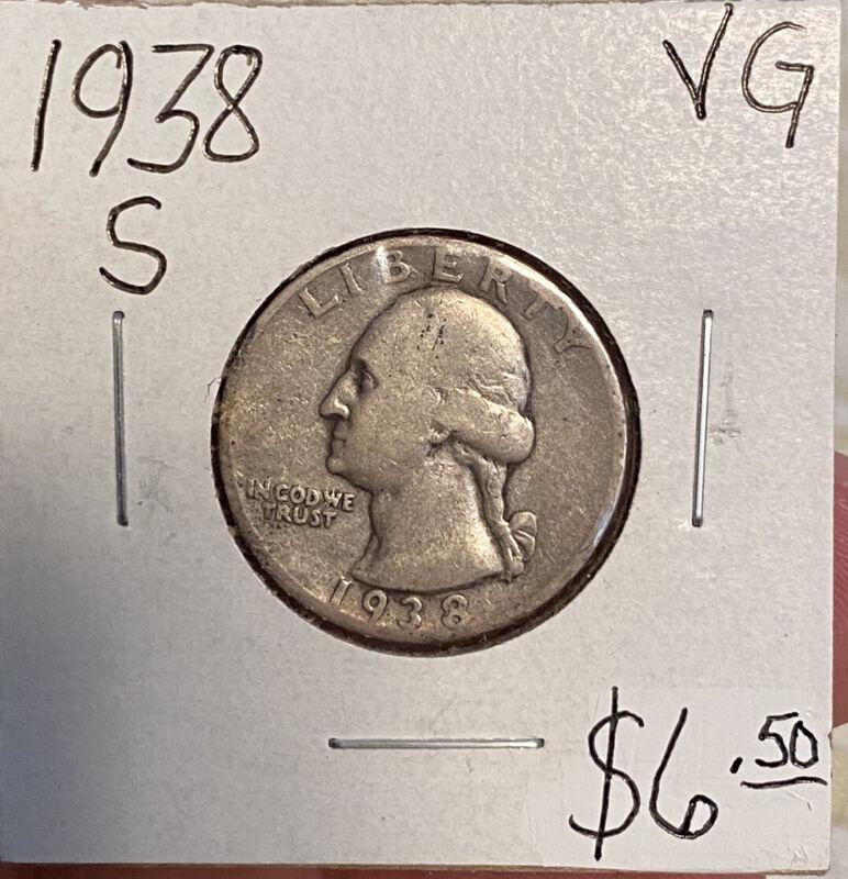 1938 S Washington Quarter SILVER / TOUGH DATE