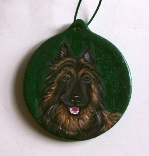Belgian Shepherd Tervuren Dog Christmas Ornament Decoration Hand Painted Ceramic