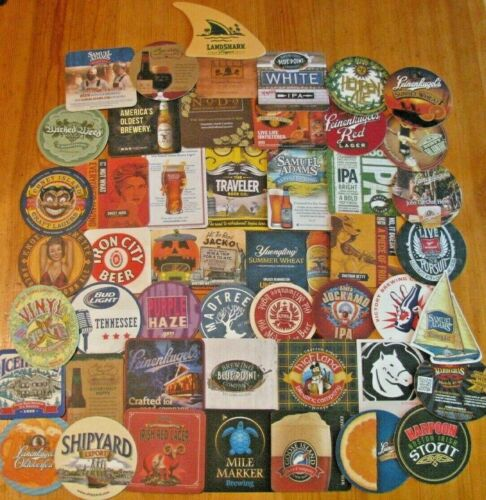 100 New US Microbrew & Major Beer Coasters! No Dupes! 50 East & 50 West! Save $5