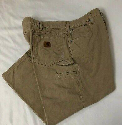 Carhartt Mens Golden Khaki (CARHARTT Men's Size 44 x 25.5 Carpenter Loose Fit Canvas Pants B159 Golden Khaki )