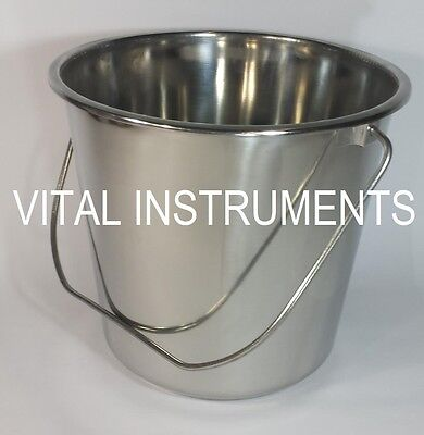 Stainless Steel Bucket Pail 16 Qt Dog Kennel Farm Water Milk Feeding Heavy Duty