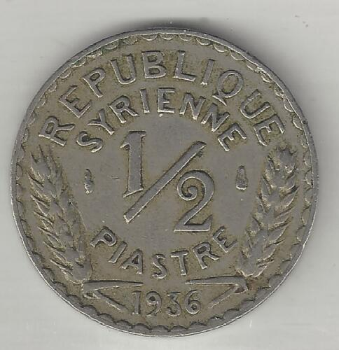 SYRIA, 1936, 1/2 PIASTRE, NICKEL-BRASS,  EXTRA FINE,  KM#75