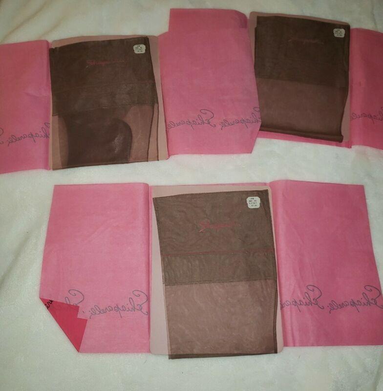 3 Pairs Vintage Schiaparelli Brown Stockings Nylon Sz 10 (QQ)
