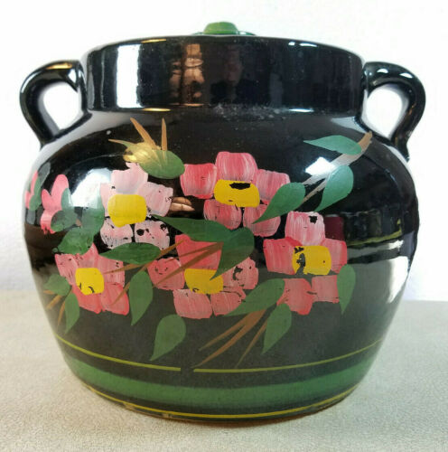 Antique Original Stoneware Black Glazed Pottery Bean Pot or Pickle Crock w/ Lid