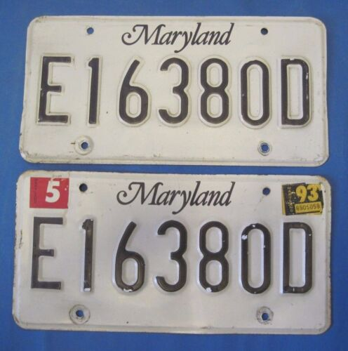 1993 Maryland License Plates matched pair