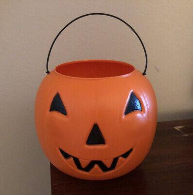 Vtg. GENERAL FOAM PLASTICS Orange Halloween Pumpkin Blow Mold Candy Bucket USA