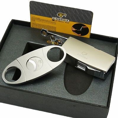 COHIBA Matt Silver Metal Jet Flame Cigar Cigarette Lighter W/ 3 Punch Cutter Set