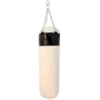 "56"" PUNCHING BAG WITH CHAINS Sparring MMA Boxing Training Canvas Heavy Duty"