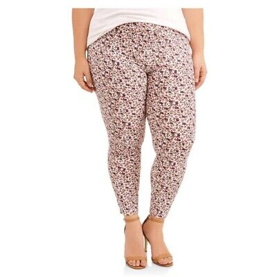 Terra & Sky Plus Size Leggings 1X 16/18 Womens Floral Sueded Footless NWT